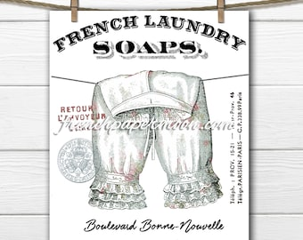 Digital Shabby Chic French Laundry Graphic,  Pantaloons, Victorian Bloomers, Washing Line Download, French Washing