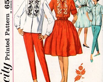 FREE US SHIP Original Uncut Simplicity 4970 Retro 1960's 60s Jackie  Blouse Stove Pipe Pants Skirt Transfer Bust 32 Or 34 Sewing Pattern