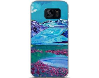 Juneau Mendenhall Glacier Samsung Case Alaska Fireweed mountains purple blue pink