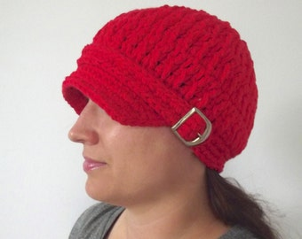 Red Newsboy Womens Newsboy Hat Newsboy Cap Crochet Newsboy Knit like with Buckle Red Hat Womens Hat Womens Fall Hat Womens Winter Hat Trendy