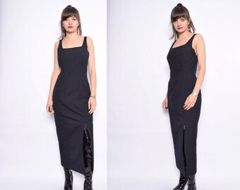 Vintage 90's Black Maxi Long Dress / Front Slit Maxi Dress / Sleeveless Maxi Dress