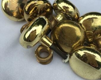 Set of 12 Vintage Brass Knobs