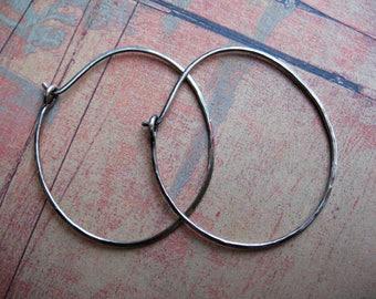 18 gauge Hammered Antiqued Sterling Silver Hoops - 1 pair - 35 by 40mm