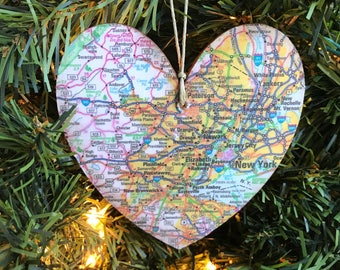 New York Map Ornament, NYC Map Ornament, New York City Christmas Ornament, New York City Ornament, New York City Map Ornament, New Jersey