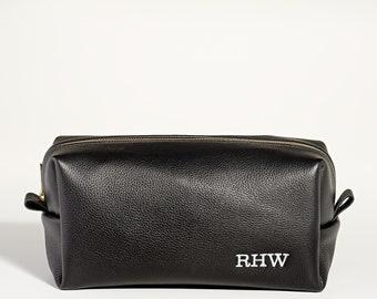 Men's Black Leather Dopp Kit |Custom Groomsmen Gift | Monogram Toiletry Bag Travel Case |Personalized Wedding Gift for Him Dad Felix Street