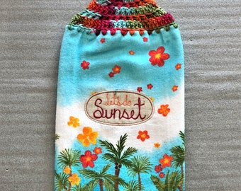 LET'S DO SUNSET Extra Plush Double Layer Crochet Towel, hanging towel, decorative towel, dish towel, hand towel, palm trees, flowers, blue