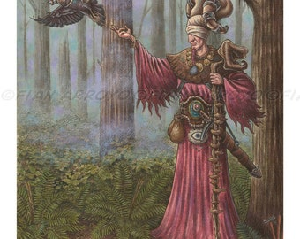 """Searching With A Blind Eye-11""""x14"""" FANTASY, Pop Surrealism, Lowbrow Signed, Titled, Fine ART PRINT of Wizard by Fian Arroyo-Unframed"""