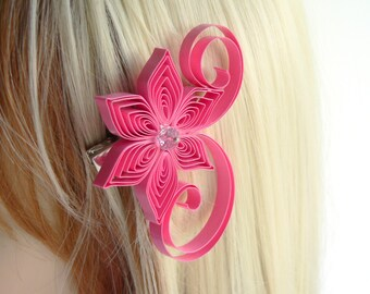 Pink Hair Flowers Wedding, Bubble Gum Pink Wedding Hair Clip, Bubble Gum Wedding Hair Accessory
