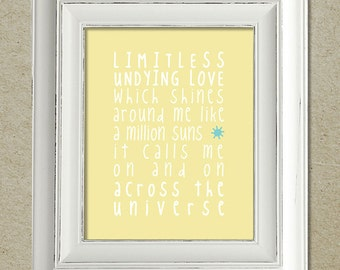 beatles art print / across the universe lyrics / unframed
