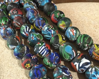 Recycled Millefiori Glass Beads, 6 Pieces