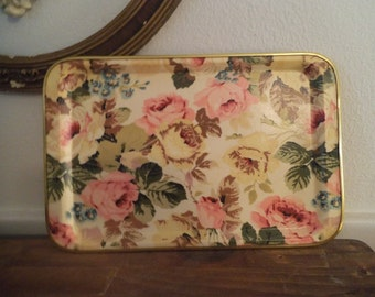 Vintage Shabby Chic dresser tray with Roses ~ Yellow Pink Sage Blue ~ Cottage tray