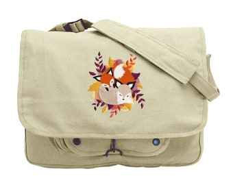 Cuddle Foxes Embroidered Canvas Messenger Bag