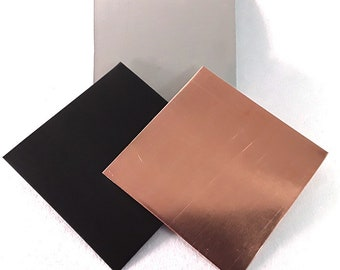 Plate zinc, copper or stainless steel 10cm x 10cm