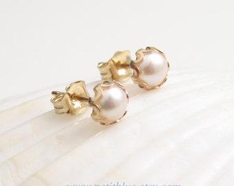 Pearl Earrings ~ June Birthday ~ 14K GF Pearl Earrings ~ Gift for Her ~ June Birthstone ~ Small White Pearl Stud Earrings ~ Simple Modern