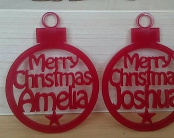 personalised hanging bauble Christmas tree decoration ornament