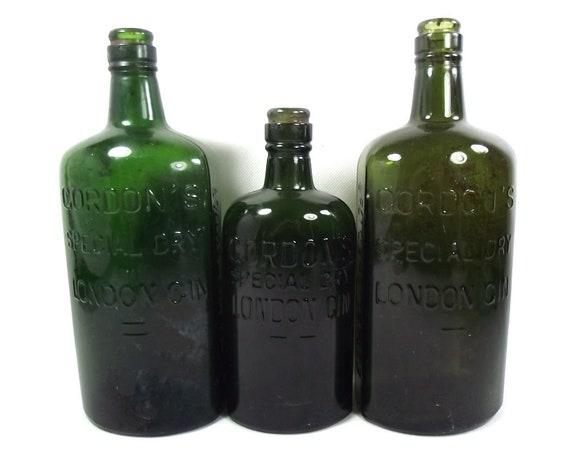 Set of Three Vintage Gordon's Gin Bottles