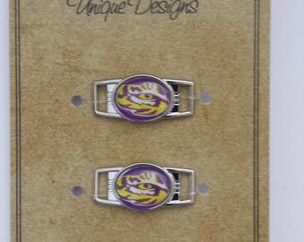 Lousiana State University LSU Tigers Shoelace Charms and Paracord Bracelet