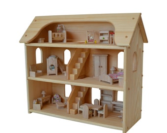 Handcrafted Natural Wooden Toy Dollhouse Furniture Set-Waldorf Dollhouse-Wooden Doll House- Montessori- Wooden Toys- Toy Dollhouse-