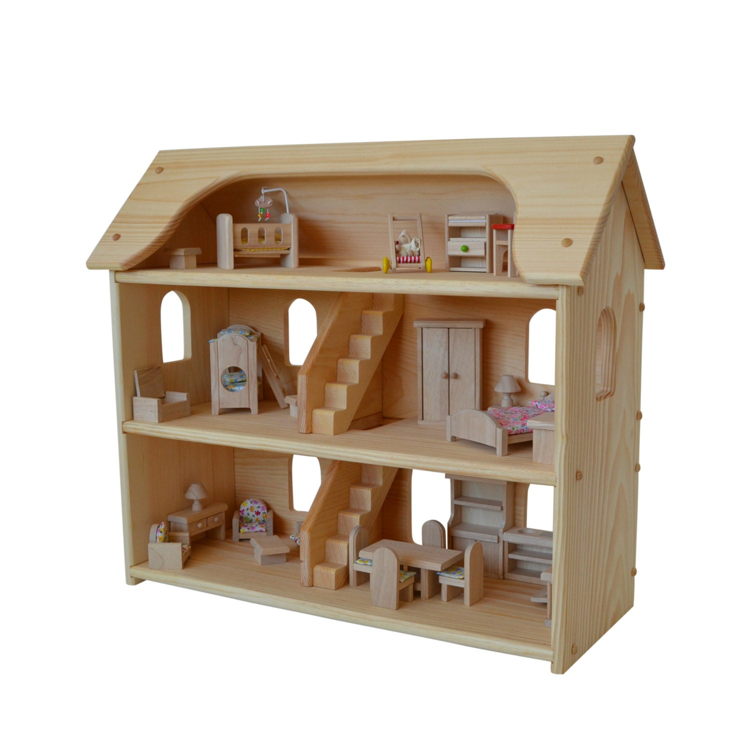 Handcrafted Natural Wooden Toy Dollhouse Furniture Set Waldorf