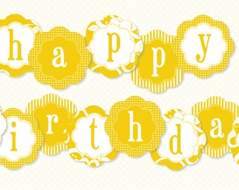 Sunshine Party PRINTABLE Happy Birthday Banner (INSTANT DOWNLOAD) by Love The Day