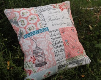 Shabby pink patchwork pillow case