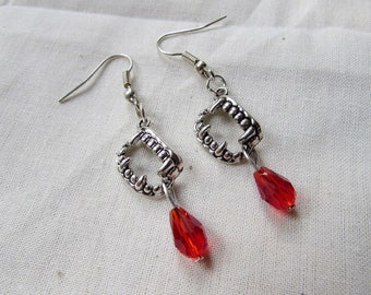 """Earrings """"vampire"""" in silver - drops with red"""