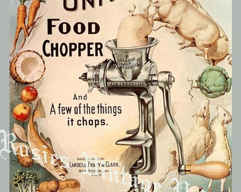 Universal Food Chopper ~  Farmhouse Kitchen Decor - Kitchen Art - Food Grinder - Restaurant Art - Retro Food Poster - Vintage Farmhouse