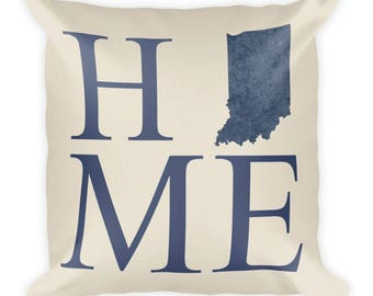 Indiana Pillow, Indiana Gifts, Indiana Decor, Indiana Home, Indiana Throw Pillow, Indiana Art, Indiana Map, Indiana Made, Indiana Cushion