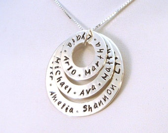 Infinity Necklace | Large Family Triple Washer Necklace, The Ultimate, Personalized up to 12 Names