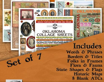Oklahoma Digital Collage Sheets, Vintage Image Printable, ATC, Instant Download, Americana