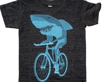 Shark on a Bicycle - Kids T Shirt, Children Tee, Tri Blend Tee, Handmade graphic tee, sizes 2-12