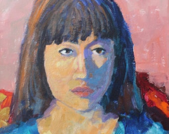 Portrait of Woman, original acrylic painting, wall candy, 11x14 inches, modern impressionist,christineparker, figurative art, wall candy