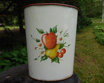 Vintage 1950s to 1960s White/Red/Yellow/Green Oval Trash Can/Receptacle/Bin/Basket Metal Fruit Motif Apple/Pear/Cherries Decorware Retro