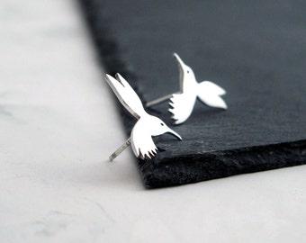 Hummingbird Earrings - Silver Stud Earrings - Bird Earrings - Gold Stud Earrings - Nature Earrings - Bird Stud Earrings - Tiny Earrings