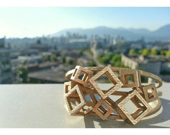 Complex Cube Cuff Bracelet // 3D printed jewelry // gold plated steel and raw steel