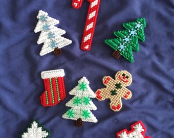 Christmas Magnets - Handmade - Plastic Canvas - Holiday Decor - Candy Cane - Gingerbread - Candy Cane