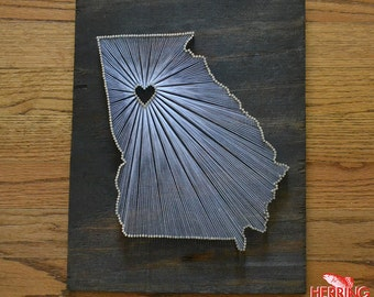 Stained Georgia State String Art - Atlanta, Georgia - Stained Nail Art - Georgia Bulldogs - Georgia Tech