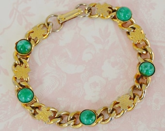 Vintage Four Leaf Clover and Faux Jade Good Luck Bracelet
