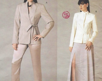 Womens Tie Front Jacket, Skirt & Tapered Pants OOP Vogue Sewing Pattern V2780 Size 8 10 12 Bust 31 1/2 to 34 UnCut NYNY The Collection