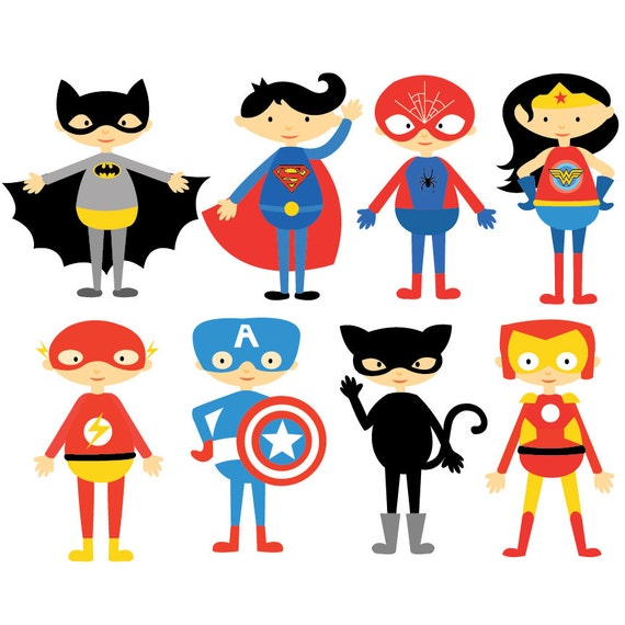 superhero comic characters clipart vector set instant rh etsy com character clip art free characters clipart black and white
