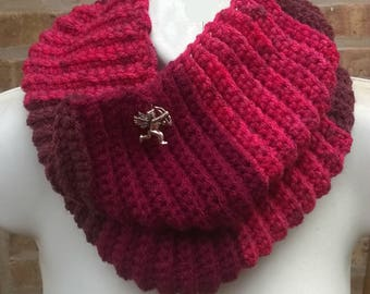 Crochet Cowl, Cowl Scarf, Infinity Scarf, Neck Warmer, Chunky Cowl, Cupid Charm Cowl, Red Cowl, Valentines Day, Handmade Cowl, Womens Cowl