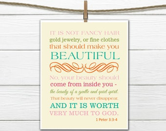 Bible Verse Christian Art Print 1 Peter 3:3-4 Beauty 8x10 PDF Instant  Download