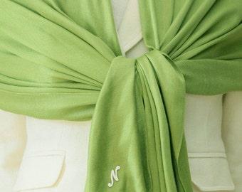 Sale slightly defect apple green pashmina bridal scarf bridesmaids wraps, shawls with monogram