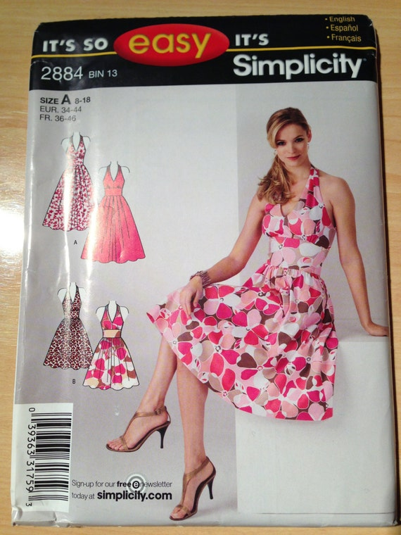 Simplicity 2884 Sewing Pattern Misses Tank Dress in Two Lengths Size 8-18