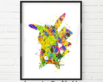Pokemon Pikachu Print Watercolor Art Home Decor Nursery Print, Pokemon Decor Pokemon Printable Pokemon Gift Wall Decor Pikachu Picture