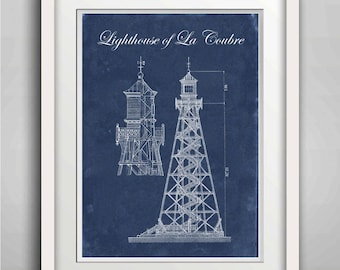 Technical drawing, Lighthouse Print, Lighthouse of La Coubre, Wall Art, Kid Room Poster, Coastal Nautical Beach Decor New Caledonia