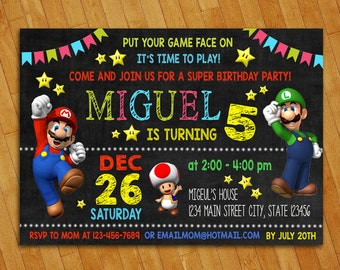 Super mario invitation super mario birthday party luigi super mario invitation super mario birthday party luigi yoshi game nintendo filmwisefo