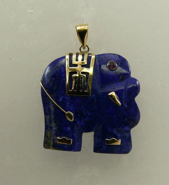 Lapis Elephant Pendant 14k Yellow Gold