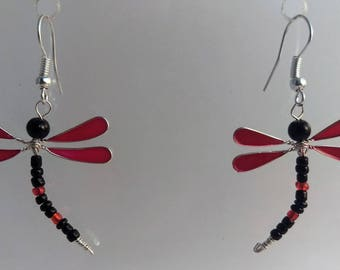 Red and black Dragonfly earrings
