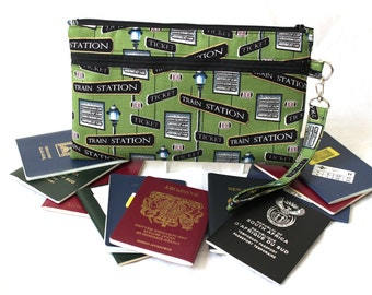 Travel gift for dad - Travel Gift for Him - Train Lover Gift - Family Travel Wallet - Boarding Pass Passport Holder - Travel Bag for Him